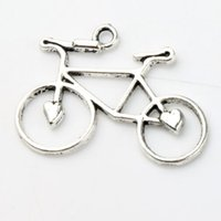 Traditional Charm bicycle earrings - 30 x23 mm Antique Silver Open Heart Bike Bicycle Charms Pendants Fashion Jewelry DIY Fit Bracelets Necklace Earrings L264