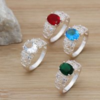 artificial stone - Fashion Silver Plated Band Rings Vintage Crystal Artificial Stones Charms Jewelry Rings For Women Lady Girls Size Mixed YBLH