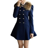 Wholesale New Fashion Women Coat Double Breasted Faux Fur Collar Long Sleeve Elegant Warm Outerwear Wool amp Blends Red