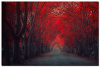 autumn landscape photos - Autumn Forest Path Red Tree Nature Art Silk Wall Poster Photo x36 inch