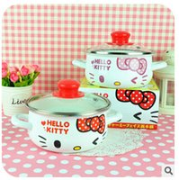 Wholesale Kawaii Porcelain Enameled Quality Bowknot Hello Kitty Small Size Cooking Pot Home Panela