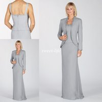 Wholesale 2015 Grey Mother of the Bride Dresses With Jacket Sequins Beaded Long Sleeve Floor Length Evening Gowns Formal Wedding Groom Mother Dress