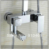 bathtub and shower taps set - And Retail Promotion Luxury Wall Mounted Bathroom quot Rain Square Shower Faucet Set Bathtub Mixer Tap emergi