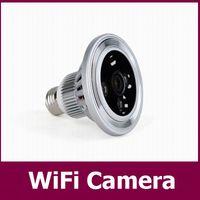 Acheter Caméra lampe-120 ° ultra-grand angle caméra lampe WIFI HD 720p 30fps High Clear Mini télécommande de caméra par Iphone DVR (IOS) Android Windows Home Security