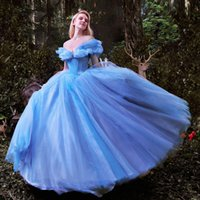 Wholesale 2015 Newest Movie Cinderella A line Wedding Dresses Luxury crystals Glittery Blue Princess Dress Ball Gowns Bridal Gowns