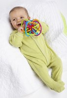 Wholesale Colorful Silicone Teething Baby Toys Baby Sensory Toy Baby Teether Toy Rattle Ring Infant Teether Calm Developmental Doll Soft Tube