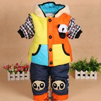 Cheap 2014 Autumn& Winter New Fashion baby boy cotton-padded cut patchwork clothing set Children Clothes sets for boys