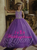 glitz pageant dresses - 2015 Scoop A Line Full Length Glitz Pageant Dresses Crystal Organza Lace Up Toddler Flower Girls Gowns TF13372