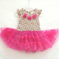 al por mayor ropa de pascua para los niños-Al por mayor-moda de Nueva vestido de niño de la flor rosa con falda llena / mono de los monos y de Pascua niña nacida losc ropa