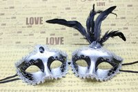 halloween supplies - Venetian masquerade ball mask Men women masks Festive party supplies Handmade half face silver color glittered plastic with feather