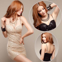 Wholesale Slinky Black Sexy Dress - 2016 New female slinky bodycon casual dresses sequins condole strapless dress package hip dress party night out sexy club dresses vestide