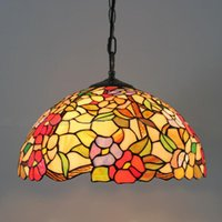 Wholesale Tiffany European Style Stained Glass Flowers Series Rose Pendant Lights Lighting Fixtures Study Room Living Room Lamps Dia40cm