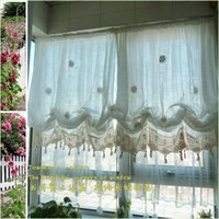 balloon window shades - Pastoral style adjustable balloon curtain living room shade white window treatment curtains for windows