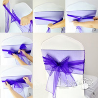 Wholesale In stock Colorful Organza Ruffles Chair Sash Wedding Decorations Anniversary Party Banquet Accessory