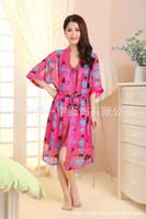 Wholesale Manufacturers good quality silk chiffon robe sexy pajamas two ladies tracksuit