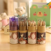 Wholesale 2015 New Drawing Pencils Girl Painting Stationary Supplies Colors Drawing Writing Wooden Pen Perfect for writingcils