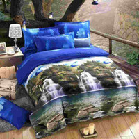 Wholesale 4pcs set Home Textiles D Printed Bedding Set Bedclothes Mountain and Stream Queen Size Duvet Cover Bed Sheet Pillowcases order lt no trac