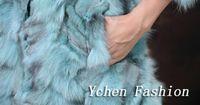 al por mayor pedazos de piel real-Venta al por mayor de 2015 de las ventas calientes del nuevo del estilo natural de los abrigos de pieles piezas de bienes Escudo de piel de zorro Invierno Ropa libre de envío YC025