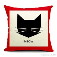 Wholesale Europe Style Lovely Cartoon White Black Cat Thick pounds Print Car Sofa Office Pillowcase Pillow Cover Cushion Hotel Home Decoration Hot