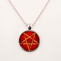 baphomet pendant - Satanism Pendant Necklace Sigil of Leviathan Baphomet Necklace Silver Chain Mens Womens Satanic Symbol Glass gemstone necklace