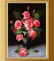 Wholesale 40 cm Diy diamond painting rose flower cross stitch d diamond embroidery round diamond crafts for home decoration YSH ZSH MG
