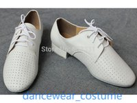 Wholesale New Mens Genuine Leather Ballroom Latin Salsa Dance Shoes US7 Men White Jazz Tango Modern quot Heel Shoes