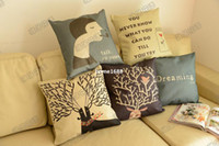 sectional sofa - Reindeer woman cartoon cotton linen case sofa decorative pillows home decor sectional couch covers cushion