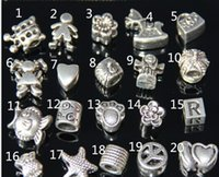 Wholesale 925 Silver Mix Pandora Style loose beads Fit European DIY Charm Bracelet Necklace Pro Jewelry Style Big Hole Loose Beads charm A439