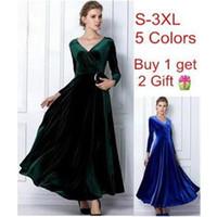 al por mayor túnicas de terciopelo-2015 hot seles Velvet Warm Dress Mujeres XXL 3XL Verde Dree Jupe más tamaño Invierno Tornozuela Longitud Vintage Maxi Vestidos Casual Túnicas desgaste