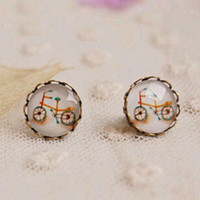Cheap Bizarre Bicycle Stud Earrings Best Cameo Glass Bronzed Earrings