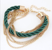 arm candies - 2015 Fashion Women Jewelry Multi Layer Adjustable Gold Link Chains Patchwork Lobster Clasp Arm Candy Bracelets Accessories