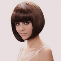 Cheap Fashion Women Cosplay Party Wigs Cheap Full Lace Wig Synthetic Short Hair 35cm 14inch Black Brown BOB Straight Bangs Wig Neat Bang Free Ca