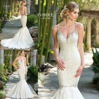 amazing kitty - Amazing Lace Spaghetti Mermaid Wedding Dresses Kitty Chen Ivory Beaded Illusion Back Bridal Gowns Plus Size Custom Made EN8058