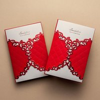 Cheap 1 Set Sample Of Laser Cut Red Wedding Invitations Wishmade (1 Card +1 Ineer sheet +1 Envelope+1 seal) CW055 CW070