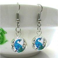 art glass birds - HE71 Beatiful Blue Queen Peacock Bird Nature Glass Dome Art Charm animal Earrings