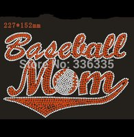 Round baseball rhinestone iron on transfers - new arrival x15 cm Baseball Mom hotfix rhinestones motif heat transfer iron on patch garment accessory