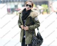 Wholesale Fashion Winter Women s cotton jacket Military Hooded Coat long jacket women fur hooded warm jacket