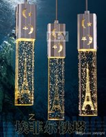 Wholesale Modern chandelier with single Eiffel Tower Crystal lampshadefor lighting for dinning room with higher brightness LED light bulbs JD9077