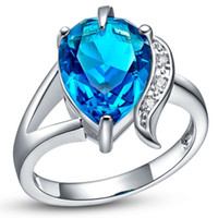Wholesale Anillos De Plata Blue CZ Diamond Ring Purple Crystal Vintage Jewelry Water Drop Women Mystic Topaz Rings for Gift J092
