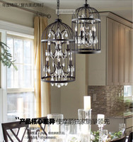 art iron works - free LED bulb American country retro iron cage crystal chandelier light crystal pendant lamps wrought iron chandelier birdcage chandelier