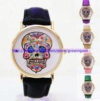 Wholesale 105pcs New arrival geneva leather watches flower and skull men women fashion quartz watches dress sport unisex wrist watches