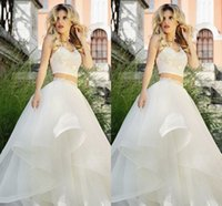halter top wedding dress - Halter Two Pieces White Organza Wedding Dresses Beading Crystals Spring Tiered Wedding Gowns Crop Top Organza Puffy Bridal Gowns