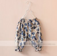 green leaves - 2015 Spring New Children Fashion Leaves Printed Cotton Loose Pants Girls Half Bloomers Childs Casual Trousers Green Blue Red M3522