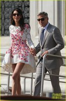 Wholesale 2014 George Clooney Couples Wedding Dresses Cap Sleeves Bridal Dresses short mini Wedding High Quality Custom Made White Zipper