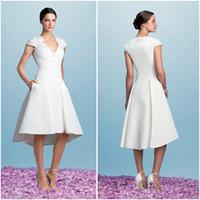 Cheap Tea Length Wedding Dresses Satin Pockets - Free Shipping Tea ...