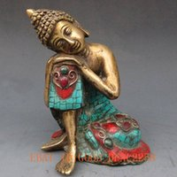 beautiful rest - Turquoise Carved Buddha Resting statue with beautiful Tibetan silver jewelry