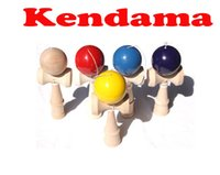 Wholesale Free DHL Kid Kendama Ball Japanese Casual Traditional Jling Game Wood Hand eye Balance Skill Educational Toys Plain Colors