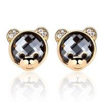 amber bear - Kalome Jewelry Earring female Korean fashion cartoon Tactic Mr Bear Earrings crystal decoration