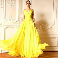 Cheap Fashion Yellow Zuhair Murad Evening Dresses 2015 V neck Ruched Floor Length Chiffon Prom Party Gowns A line New Trend Special Occasion Dress