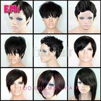cheap black hair - Hot sale brazilian hair wig straight body curly Pixie Cut cheap wigs short human hair wigs full density front bob lace wigs for black women